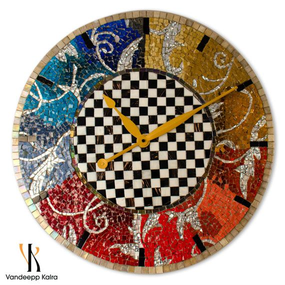 Timeless Checks - Mosaic Clock - One of a kind Mosaic Art featuring glass mosaic tiles+smalti