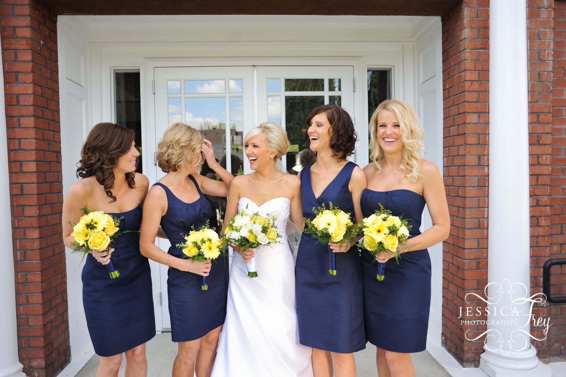 Navy and yellow wedding i love how all the bridesmaids are in navy and yellow wedding i love how all the bridesmaids are in different style dresses ombrellifo Image collections