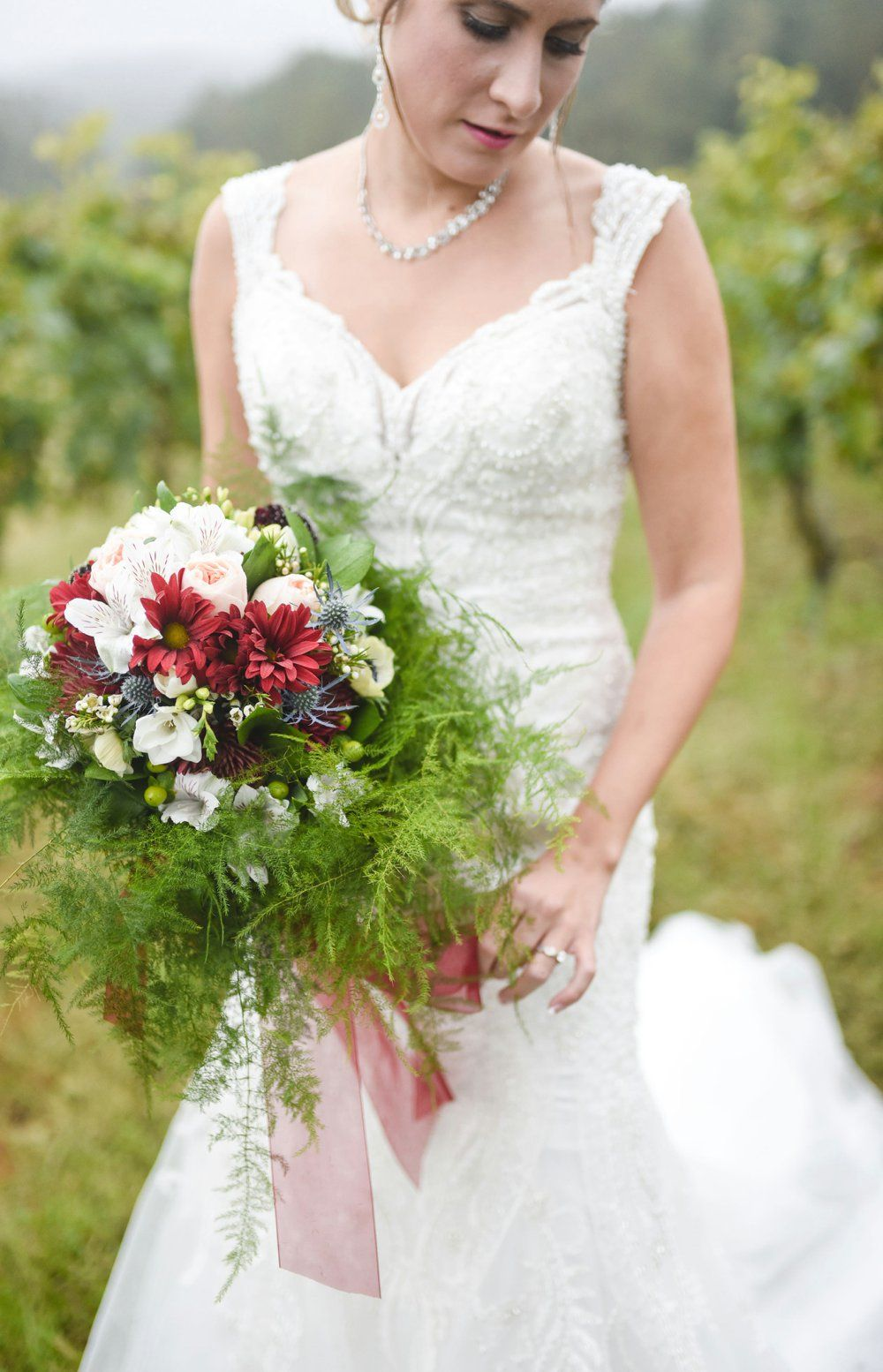 Greenery Infused Red And White Wedding Bouquet A Fairytale