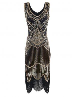 1920s Style Beaded Sequined Deco Fringe Flapper Gatsby Dress ... d9cfac286ed7