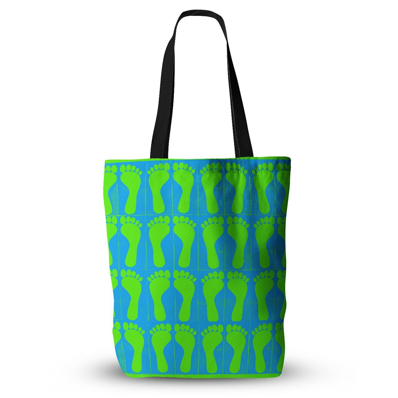 "Sreetama Ray ""Footprints Green"" Blue Aqua Everything Tote Bag"