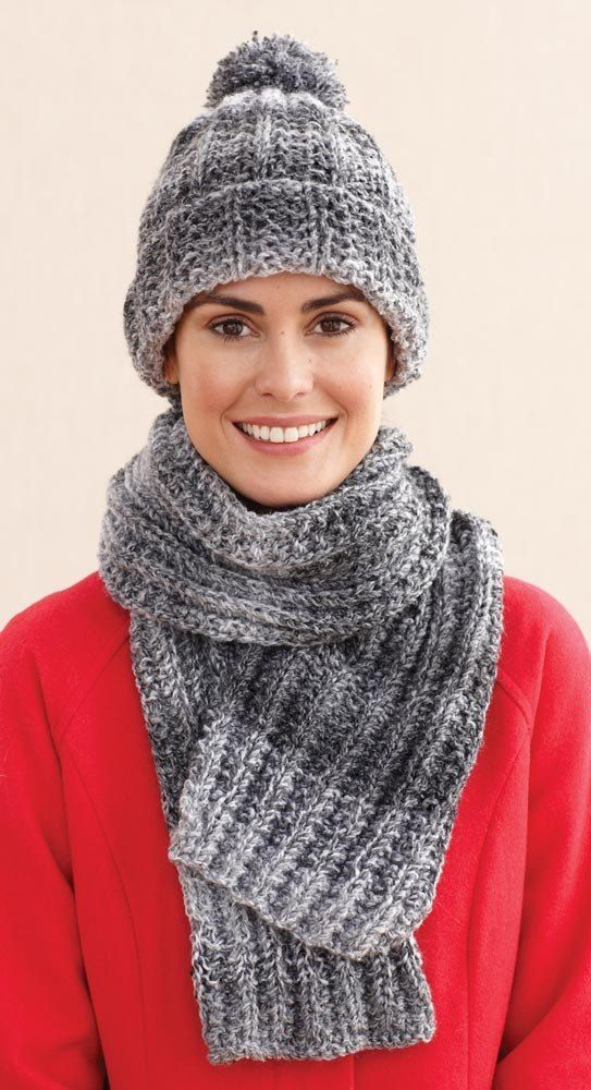 Rustic Ribbed Hat And Scarf In Lion Brand Tweed Stripes