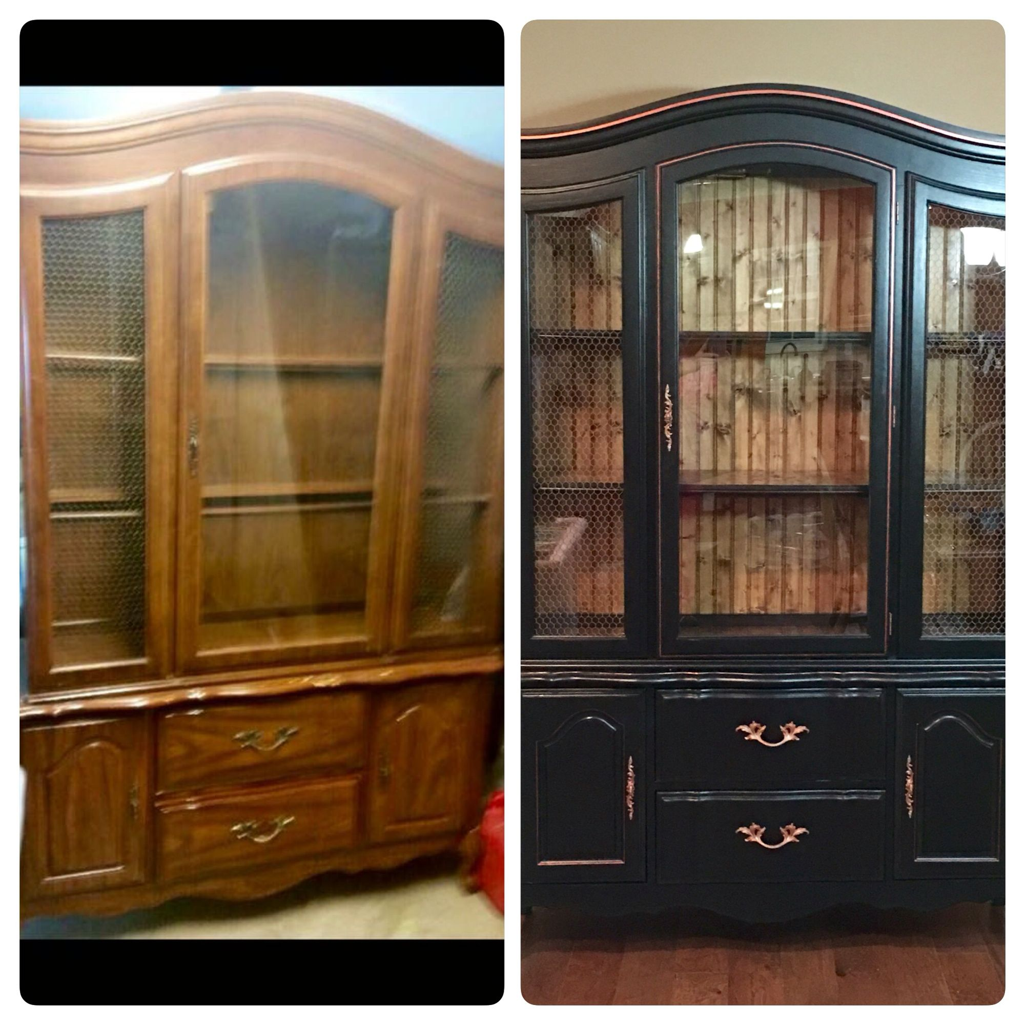 Diy Refinished And Painted Cabinet Reviews: BEFORE & AFTER China Cabinet I Refinished. Got The Ugly