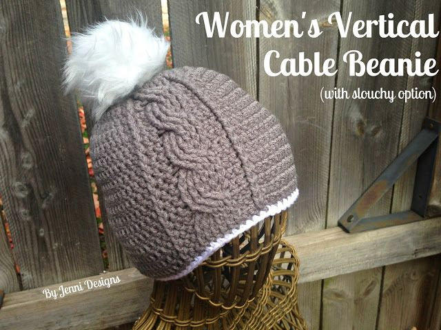 By Jenni Designs: Free Crochet Pattern: Women\'s Vertical Cable ...