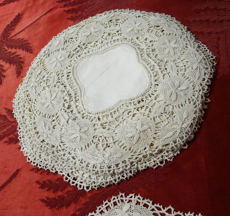 12 handmade lace luncheon mats, doilies c1920s