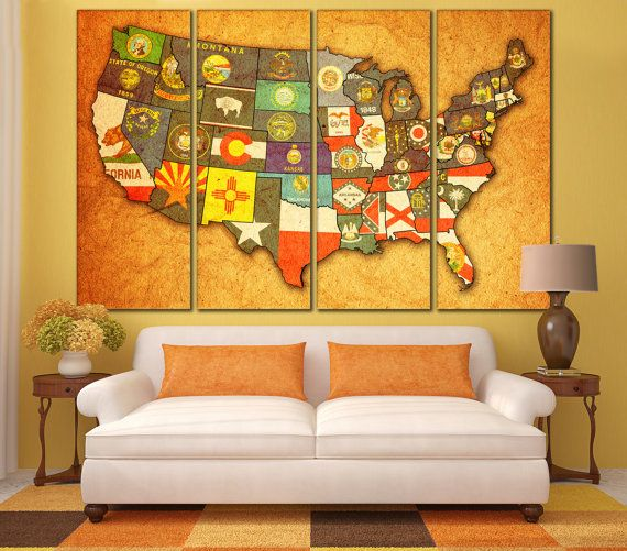 State Flags On Old Vintage Map Of USA With State Borders USA Map - Us map with state flags