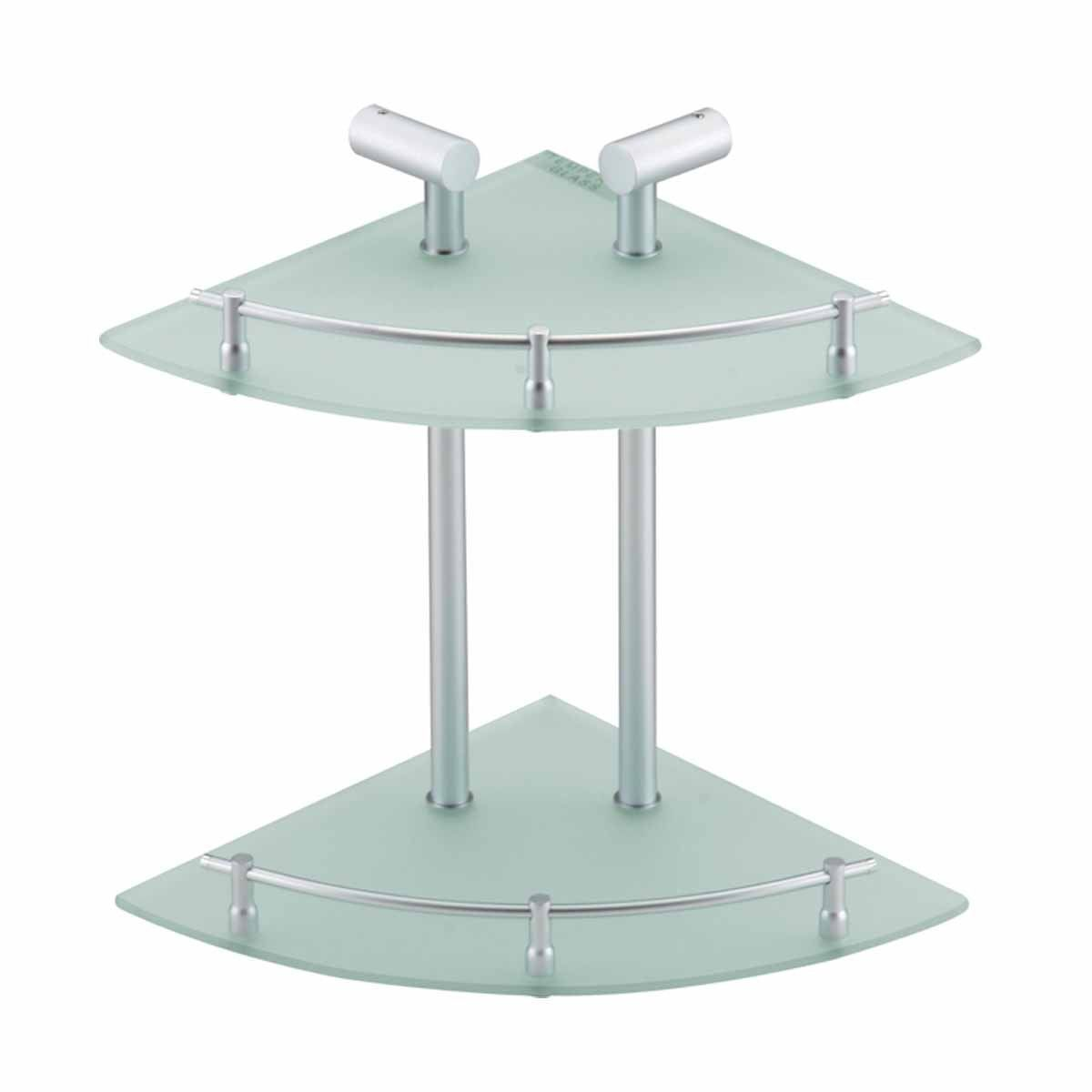 Glass Shelves Clear Glass/Stainless, Two Tier Glass Corner Shelf ...