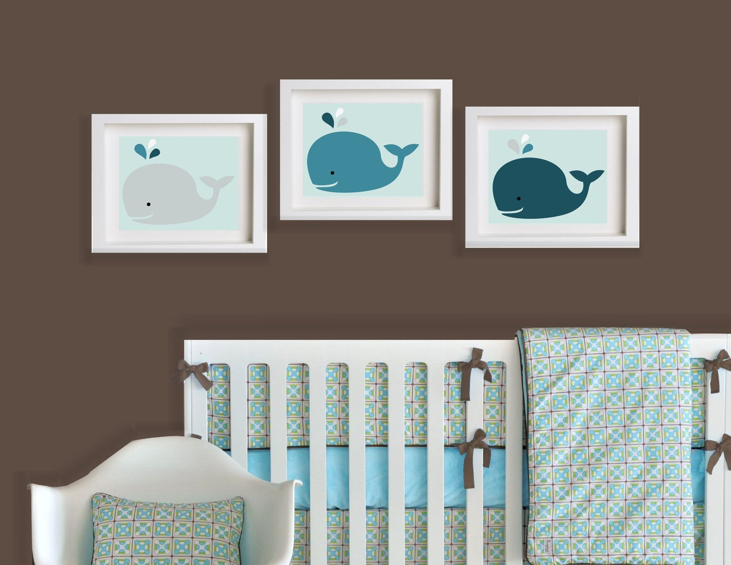 Set Of Three Baby Whales 10x8 Customize For Your Nursery 45 00 Via Etsy Whale Baby Room Baby Whale Whale Nursery