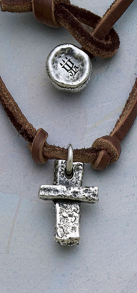 I Minus Cross On Leather Necklace Jamesavery