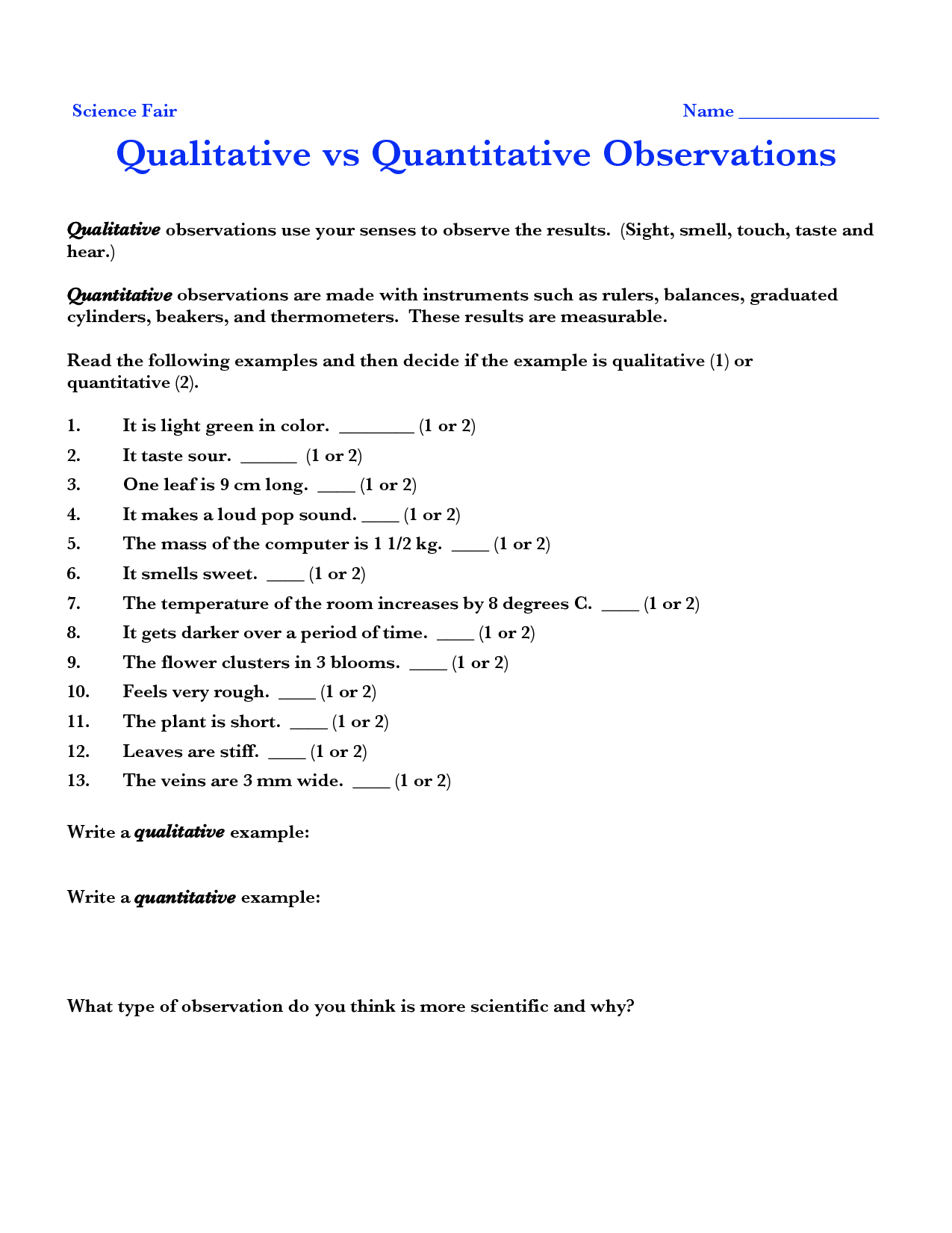 quantitative observations examples - Google Search | things to do ...