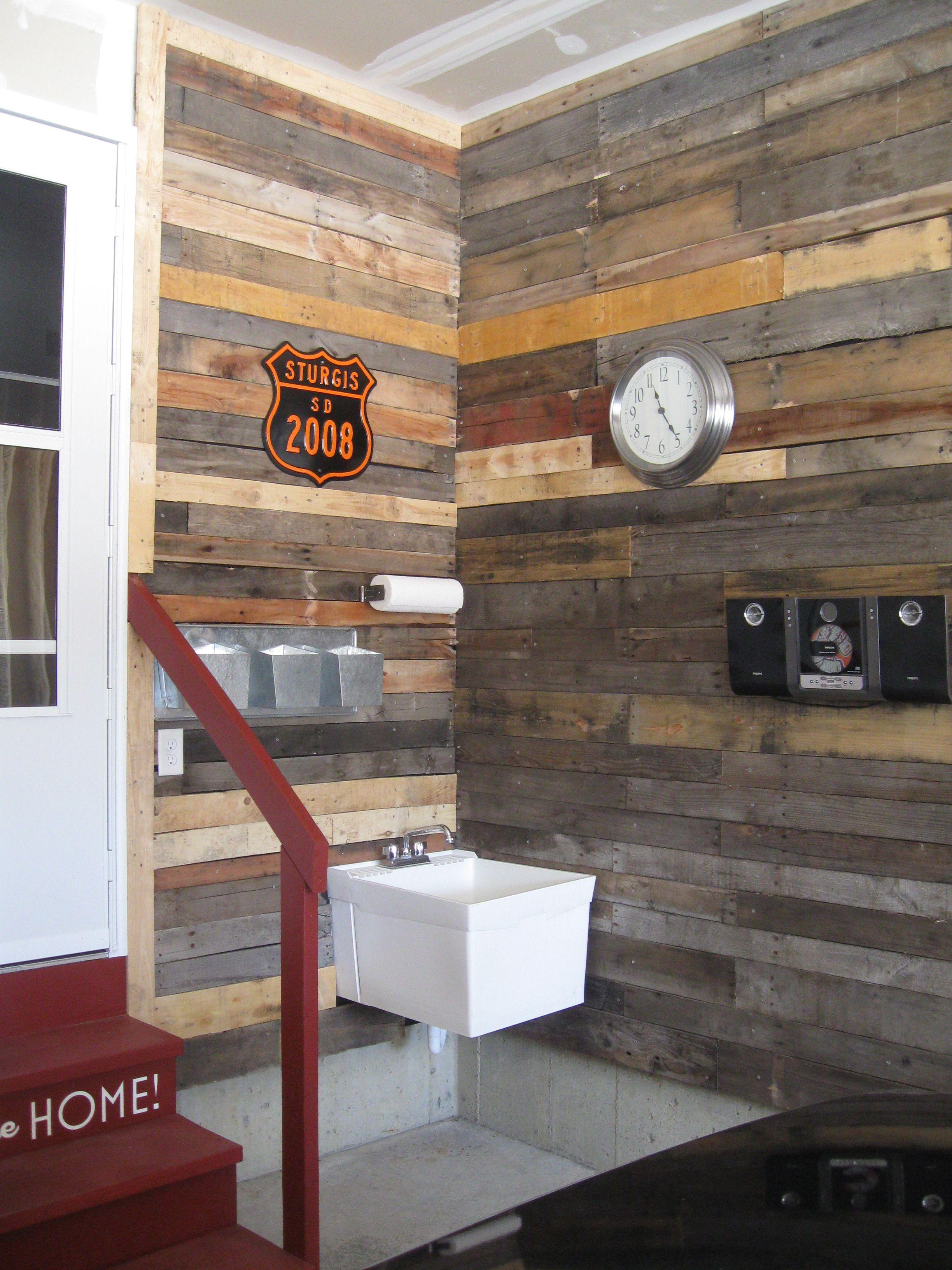 Pallet Wall Make Your Garage Beautiful