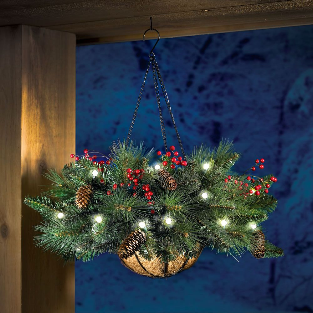 The Cordless Hanging Holiday Pinecone And Berry Basket
