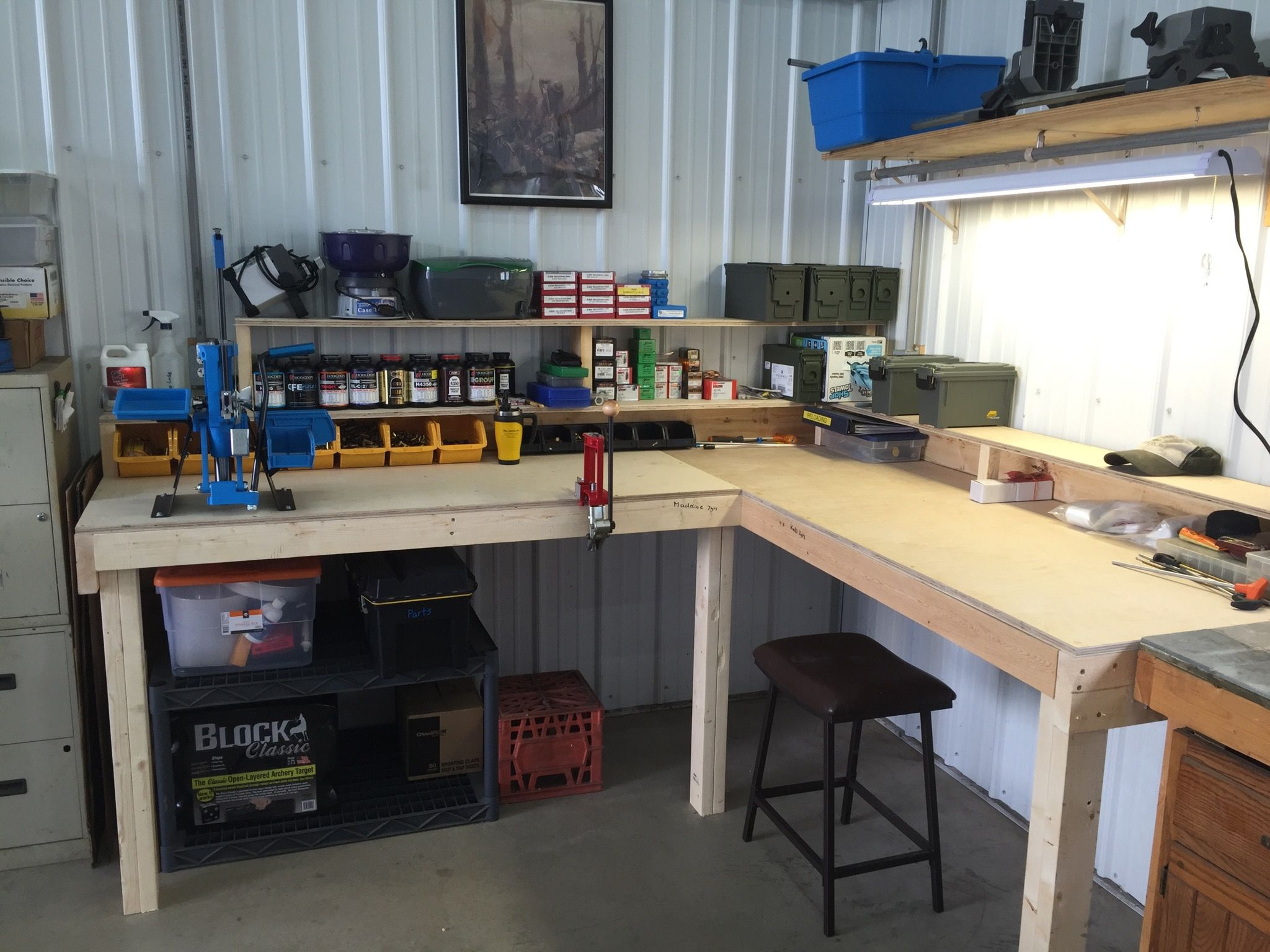 reloading bench and gun cleaning area