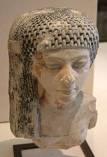 """A daughter of King Akhenaten and Queen Nefertiti, perhaps the young Meritaten, later a queen - collection of the Louvre, Paris.  Meritaten also spelled Merytaten or Meryetaten (14C BC) was an ancient Egyptian queen of the 18th dynasty, who held the position of Great Royal Wife to Pharaoh Smenkhkare, who may have been a brother or son of Akhenaten. Her name means """"She who is beloved of Aten"""". Meritaten also may have served as pharaoh in her own right under the name, Ankhkheperure…"""