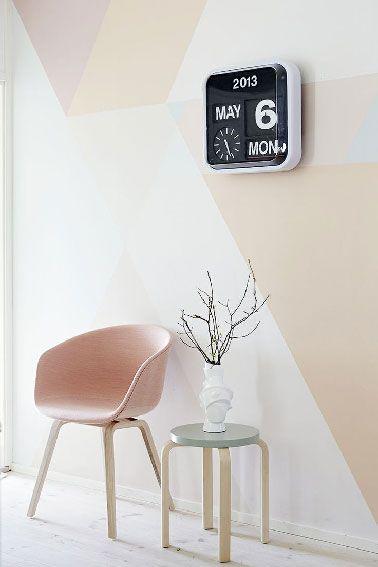 Peinture couleur pastel gris et rose en déco murale salon Interior