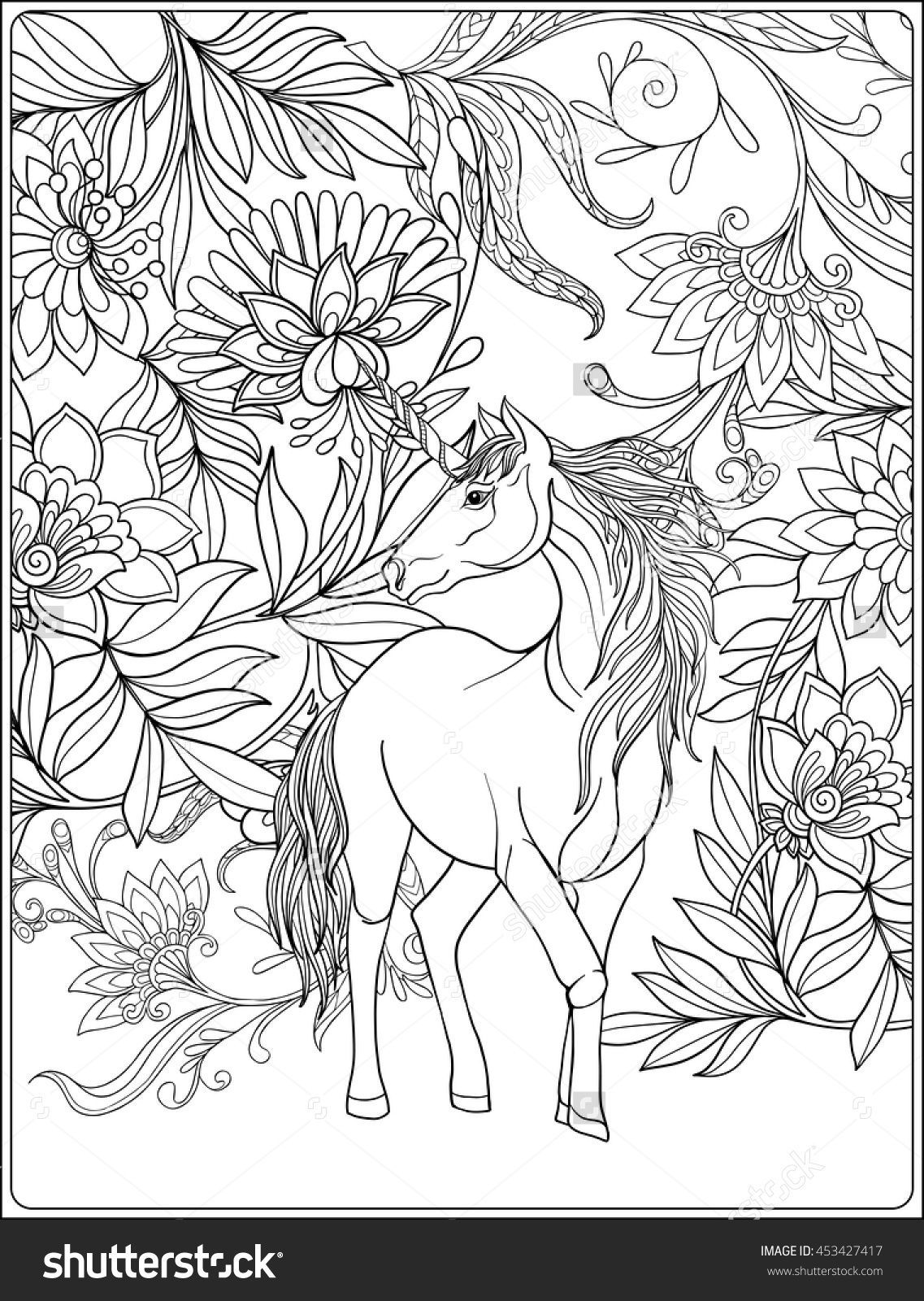 unicorn in magical garden coloring page Shutterstock 453427417 ...