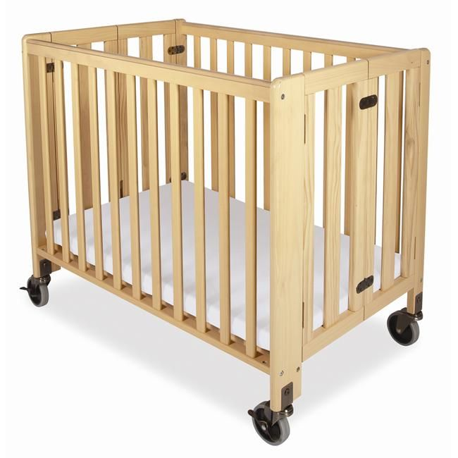 Foundations Hideaway Compact Folding Crib With Mattress Natural Silver Steel