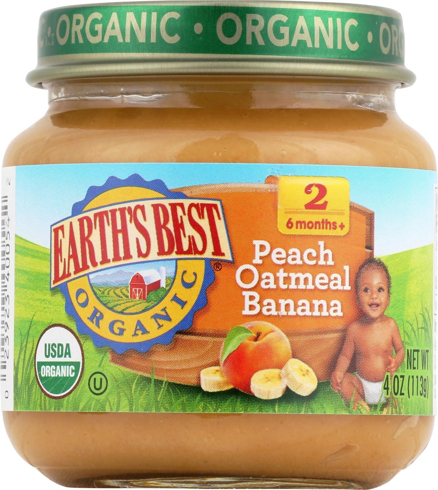 Earths best organic peach oatmeal banana baby food
