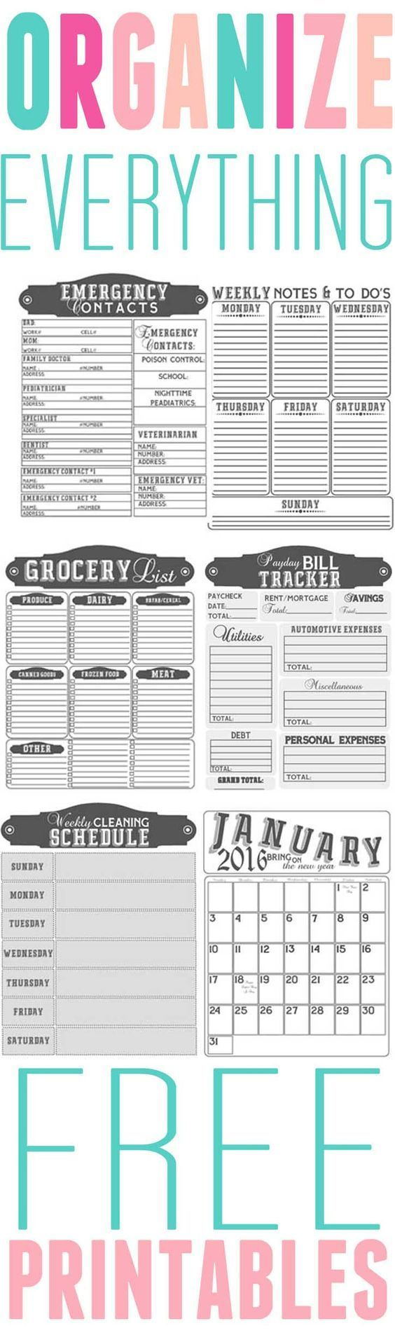 Get Organized- Free printables to organize your home in 2016 ...