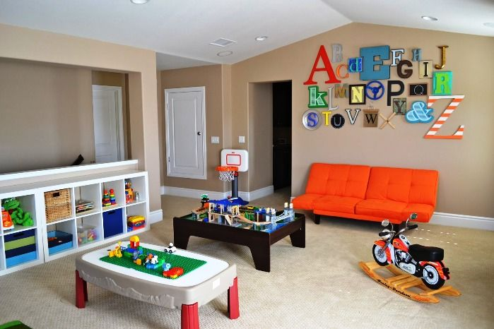 Two Small Desk Orange Sofa White Shelf And Letter Displays Are Used on hide television design ideas, bedroom designs, western bedroom ideas, bedroom wall art, shelving ideas, bedroom shelf for candles, storage for small bedrooms ideas, beautiful bedroom ideas,