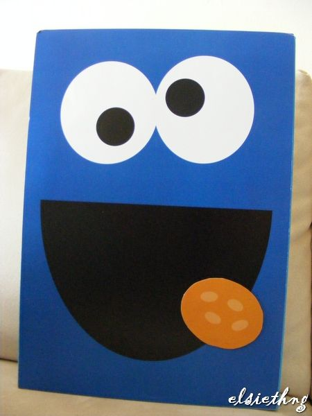 FEED COOKIE MONSTER - i wanted to get the kids to throw a ball through Cookie Monster's mouth but i was so reluctant to cut a hole!