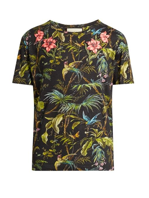 c78292a7350 Gucci Jungle-print and appliqué linen T-shirt Gucci Shirts Men