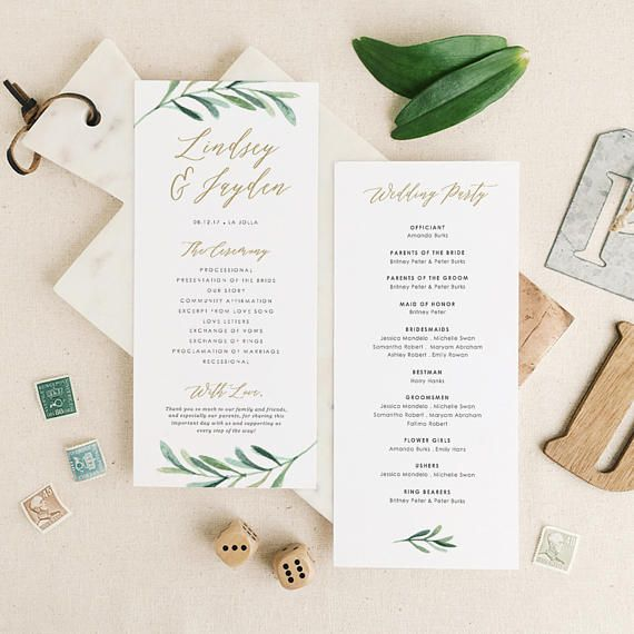 Greenery Wedding Programs Template Printable Wedding Program - Pages wedding program template