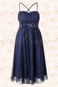 60s Tuscany Chiffon Prom Dress Navy