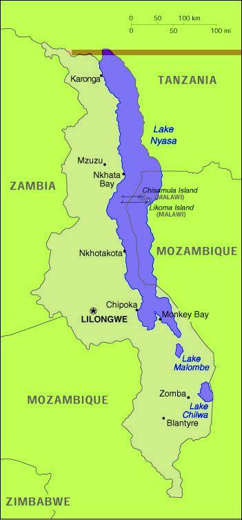 Lac Malawi Map Carte Qubec Cichlids AfricanSouth American