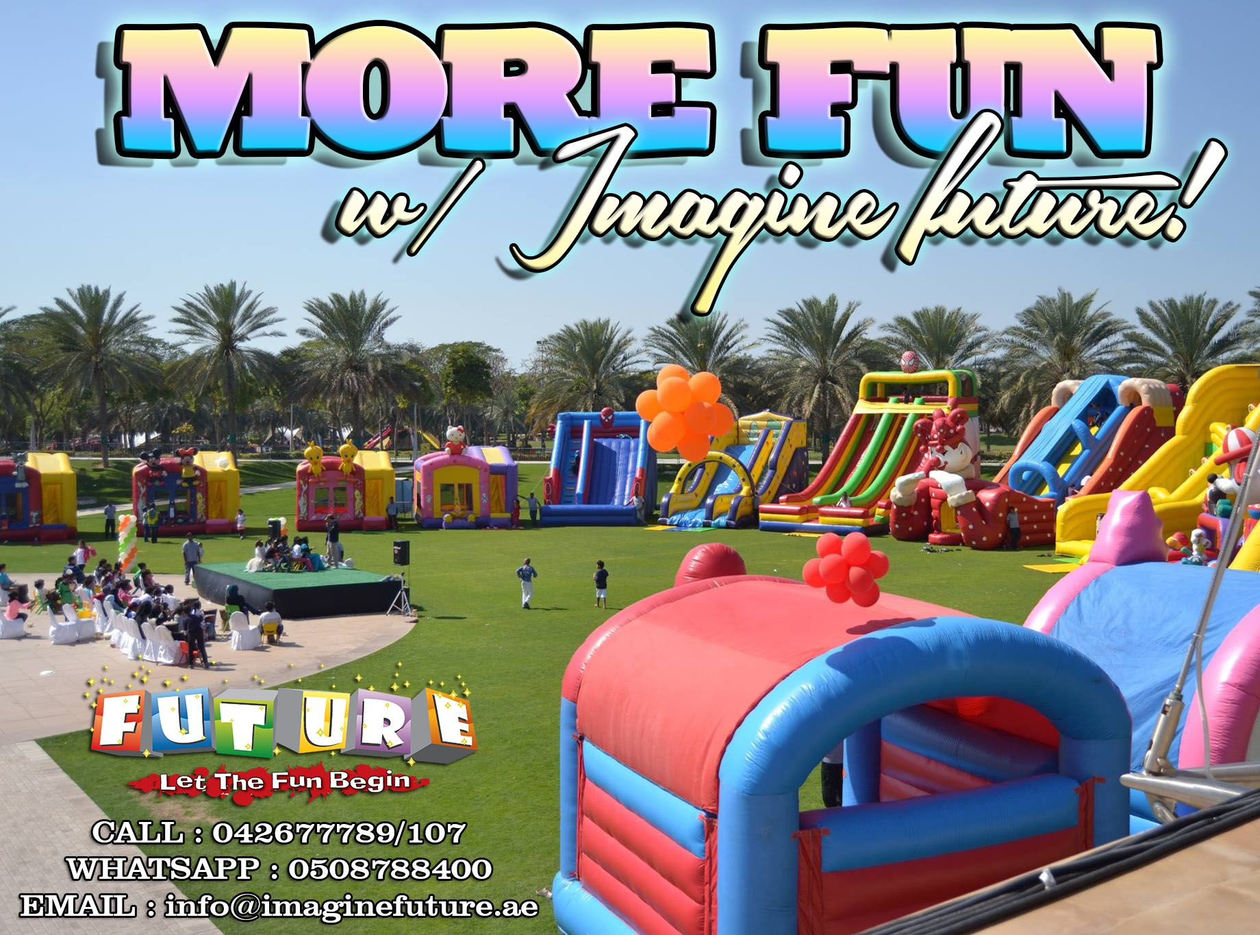 Let us give you the best entertainment and excitement on your events this coming Holidays! ✔️More choices of Small to Large Inflatables ✔️Thrill Mechanical Rides ✔️All out bouncing trampolines ✔️Delicious and friendly budget Food Van!  BOOK US NOW! Get discount upon early reservations.  Contact us for more information  Call : 042677789/107 Email : info@imaginefuture.ae Whatsapp : 0508788400  #mydubai #dubaievents #dubaiparty #uaeevents #schools #inflatables #moms #holidays #eidAlAdha…