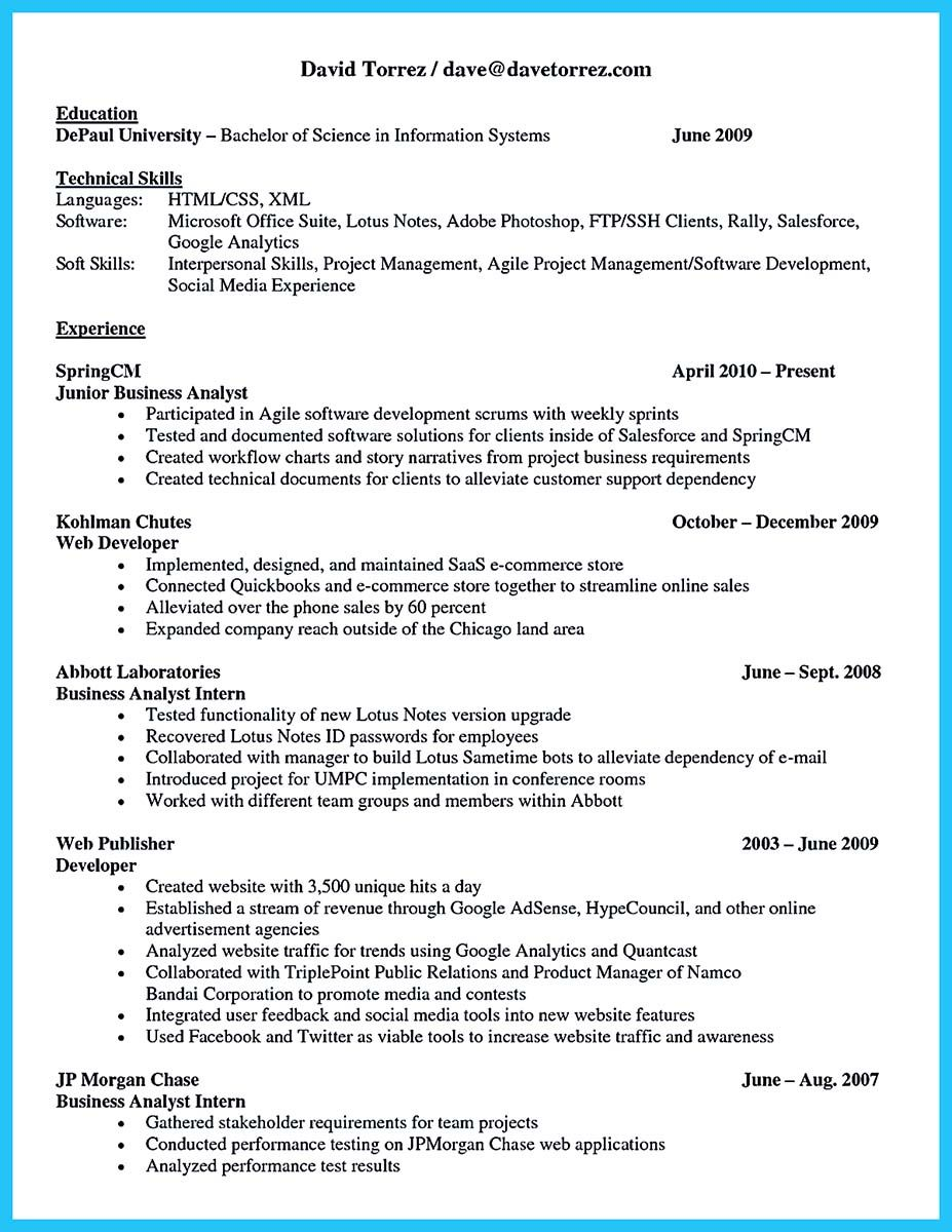Web Business Analyst Sample Resume Nice Best Secrets About Creating Effective Business Systems Analyst .