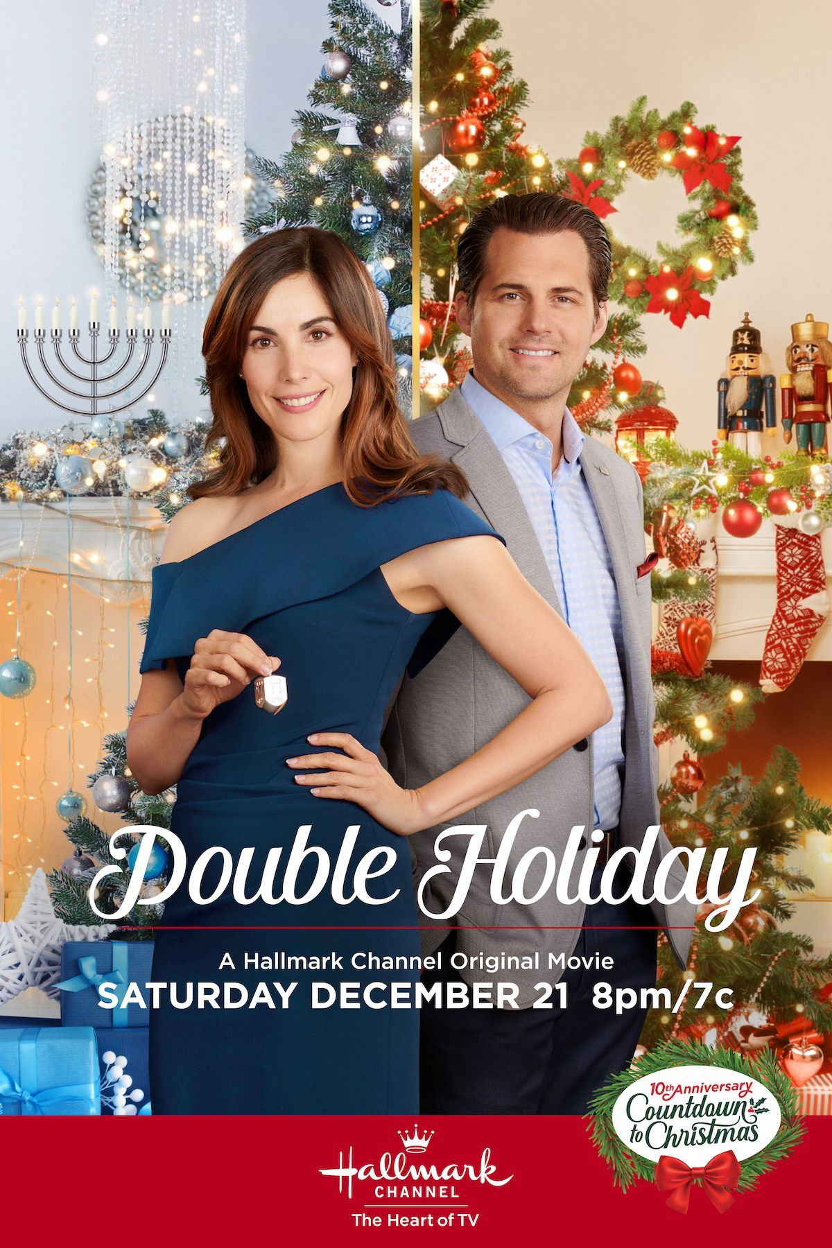 Double Holiday Celebrates Christmas And Hanukkah And Romance Carly Pope And Kristoffer Polaha Lead The Cast On December 21 Only In 2020 Christmas Movies On Tv Hallmark Christmas Movies Hallmark Channel