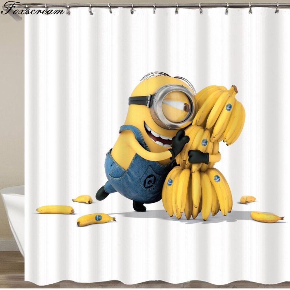 Minions Shower Curtains Yellow Shower Curtains Bathroom