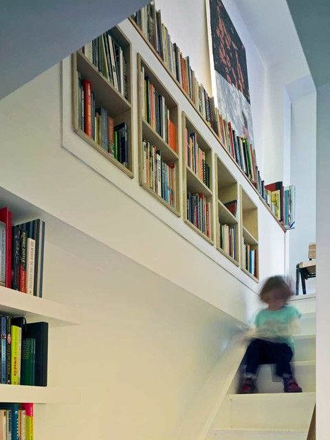 Shelving In Stairway Google Search Staircase Bookshelf