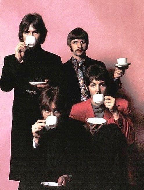 The Beatles having a cuppa tea.