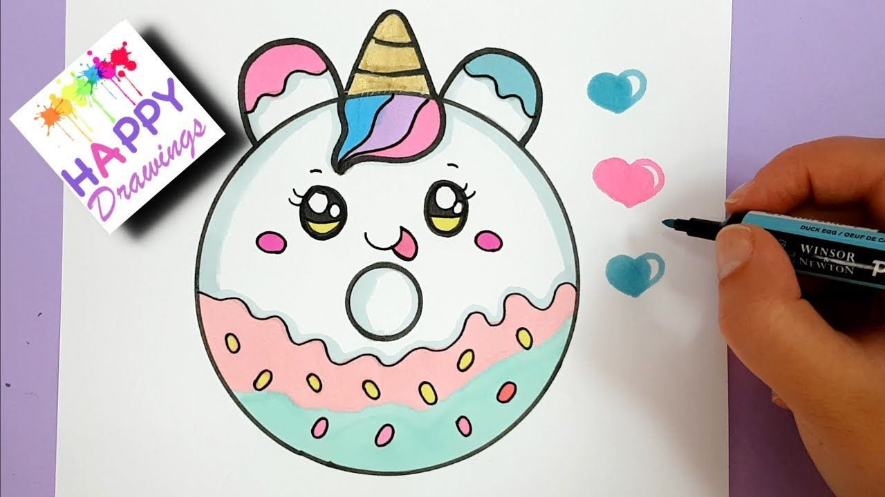How To Draw A Cute Unicorn Donut Drawing Coloring Youtube Donut Drawing Unicorn Donuts Cute Easy Drawings