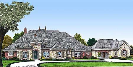 Plan 48327fm One Story Three Bed House Plan With Porte Cochere Country House Plans French Country House Plans House Projects Architecture