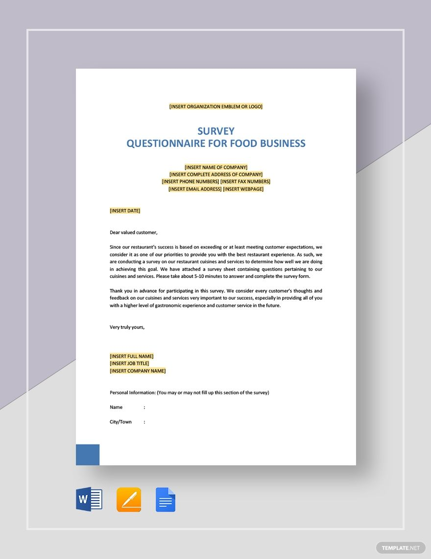 Survey Questionnaire For Food Business Template Word Doc Apple Mac Pages Google Docs Memo Template Marketing Plan Template Lettering