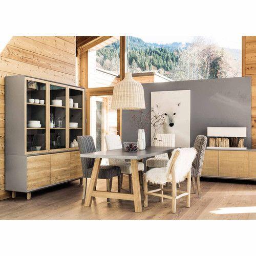 table de salle manger en bois effet bton cir l 220 cm - Table Salle A Manger Beton Cire
