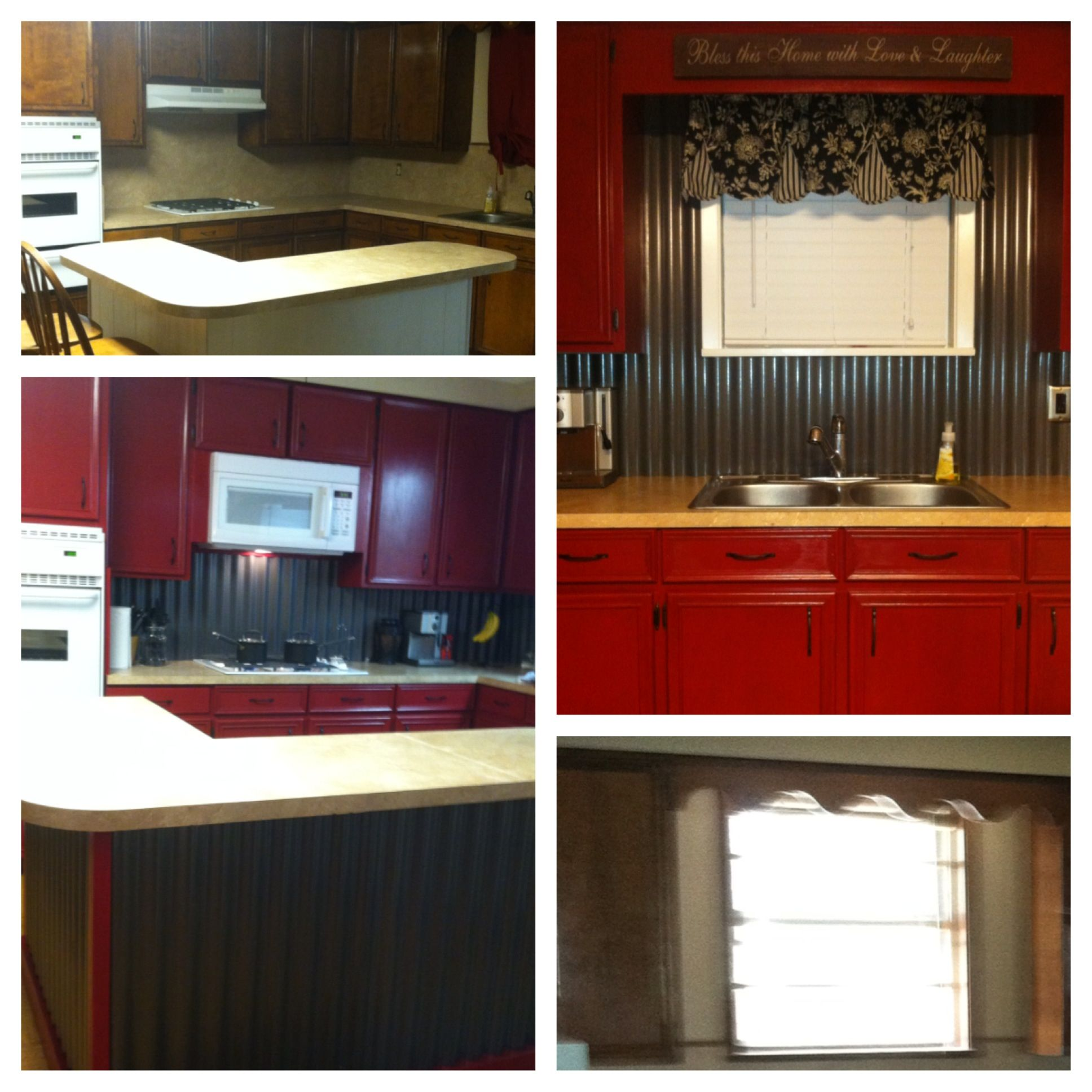 Red Cabinets Corrugated Tin Backsplash Island Our Diy Kitchen Re Do