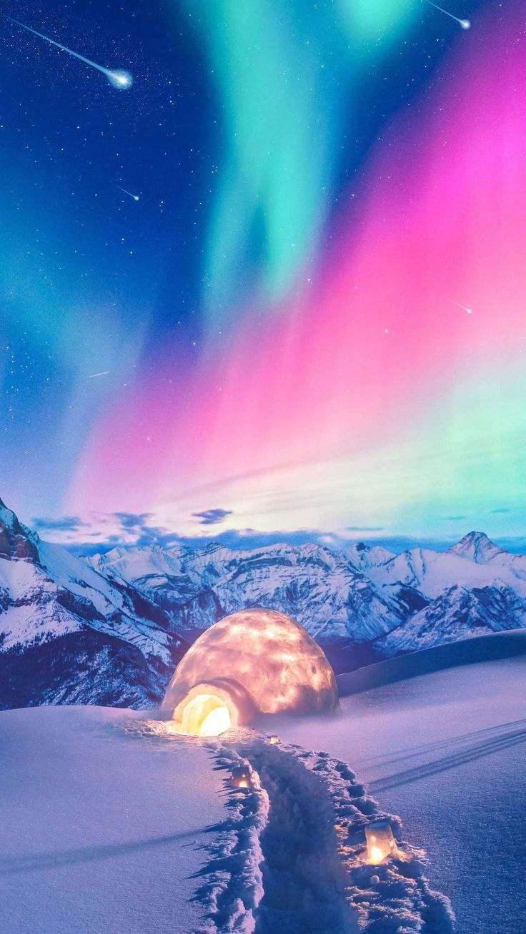 Snow Winter Iceland Aurora Northern Lights Wallpapers | hdqwalls.com