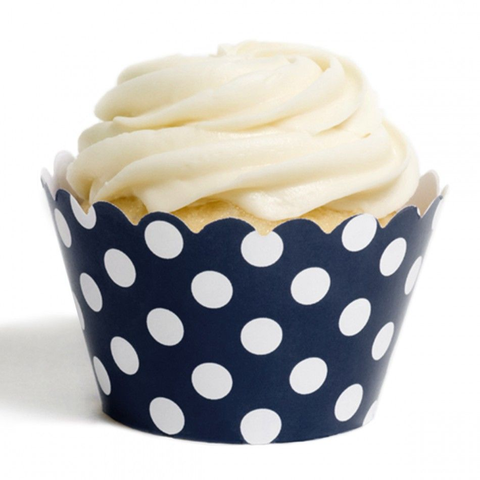 Navy Blue Polka Dots Cupcake Wrappers [DMC6615] : Wholesale Wedding ...