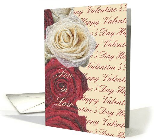 Son in law happy valentines day red and white roses card my son daughter in law happy valentines day red and white roses card personalize any greeting card for no additional cost cards are shipped the next m4hsunfo Image collections