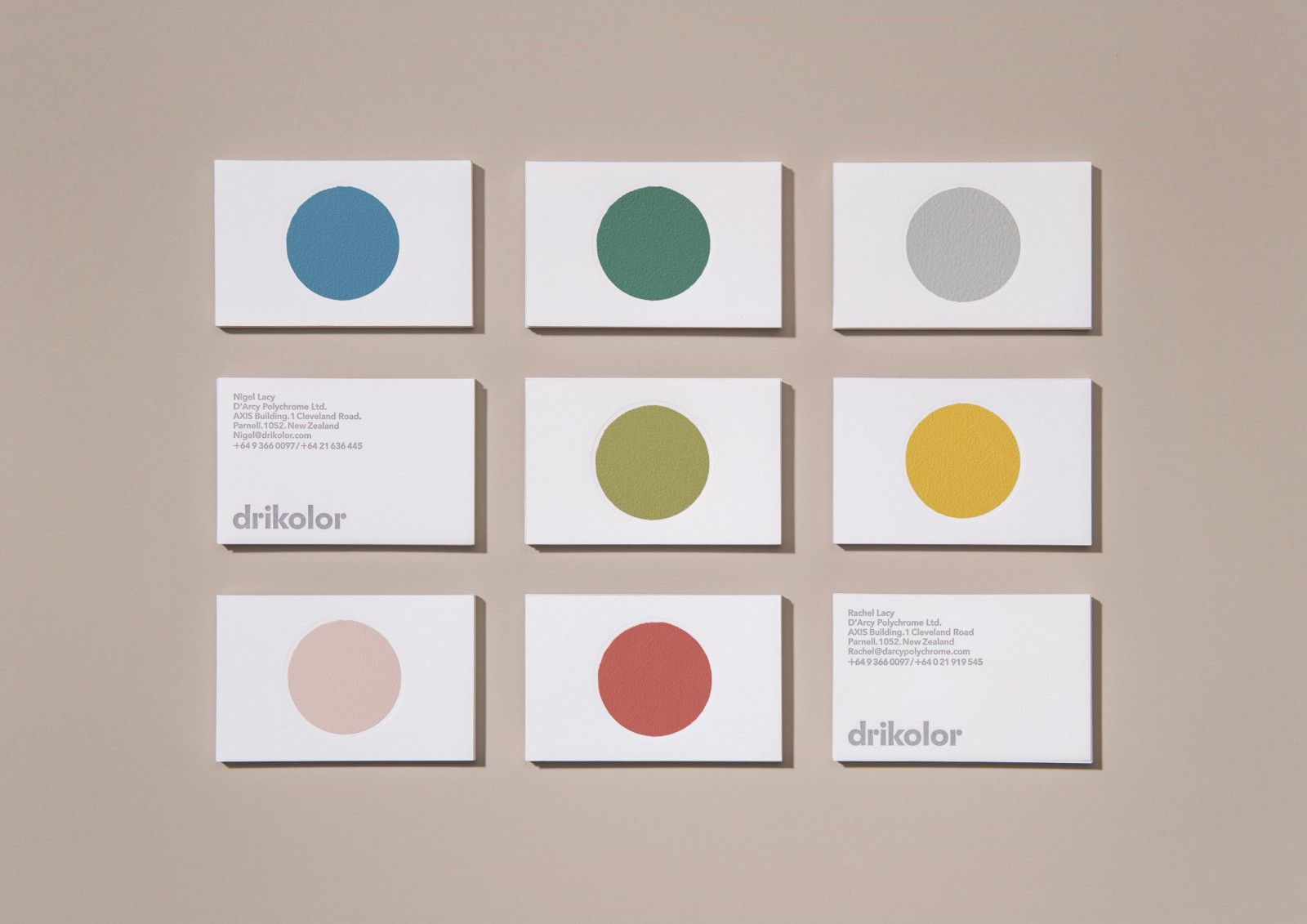 Drikolor visual identity and business cards designed by Inhouse