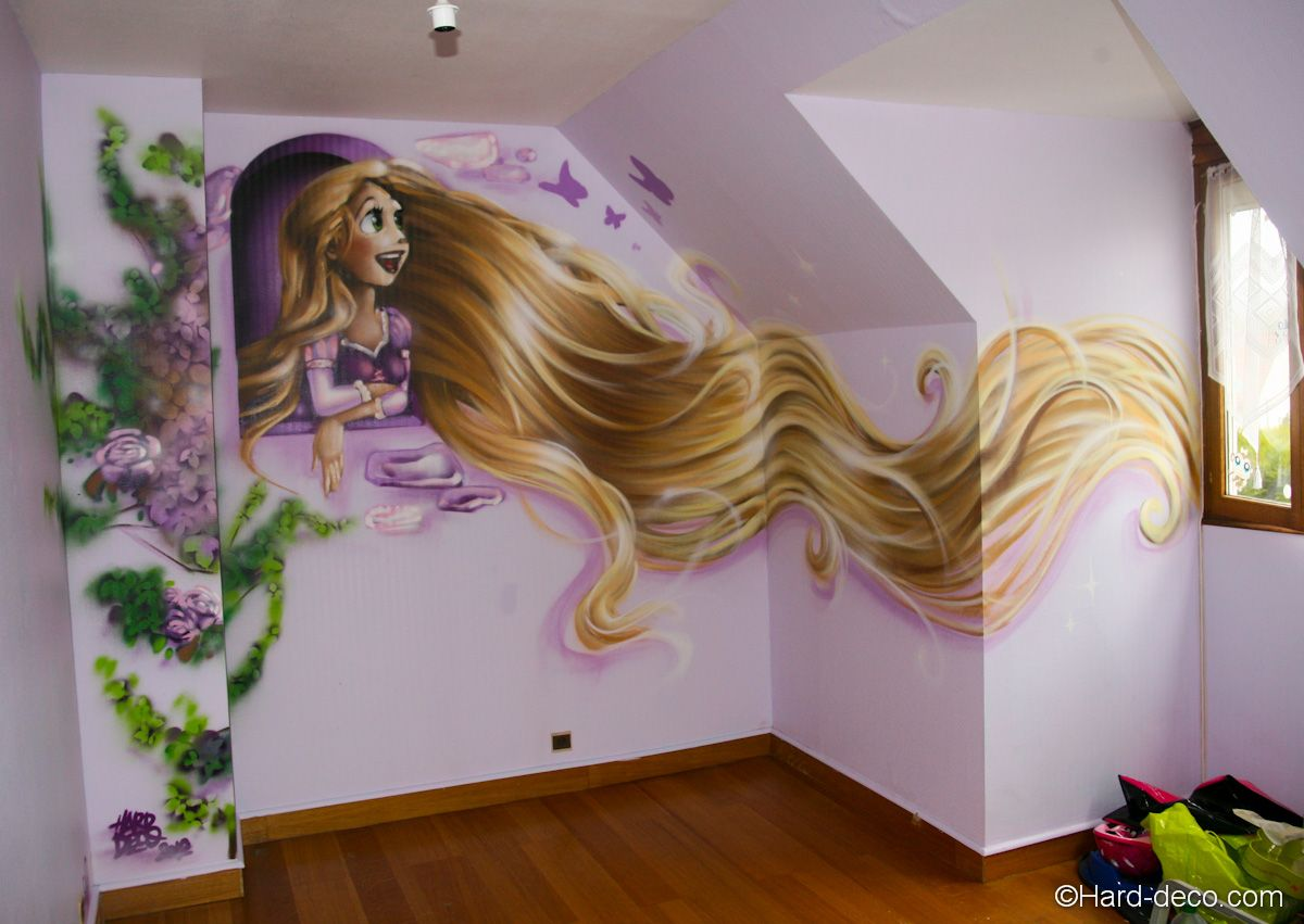 rapunzel raiponce wall fresque et peinture murale dans les chambres d 39 enfant pinterest. Black Bedroom Furniture Sets. Home Design Ideas