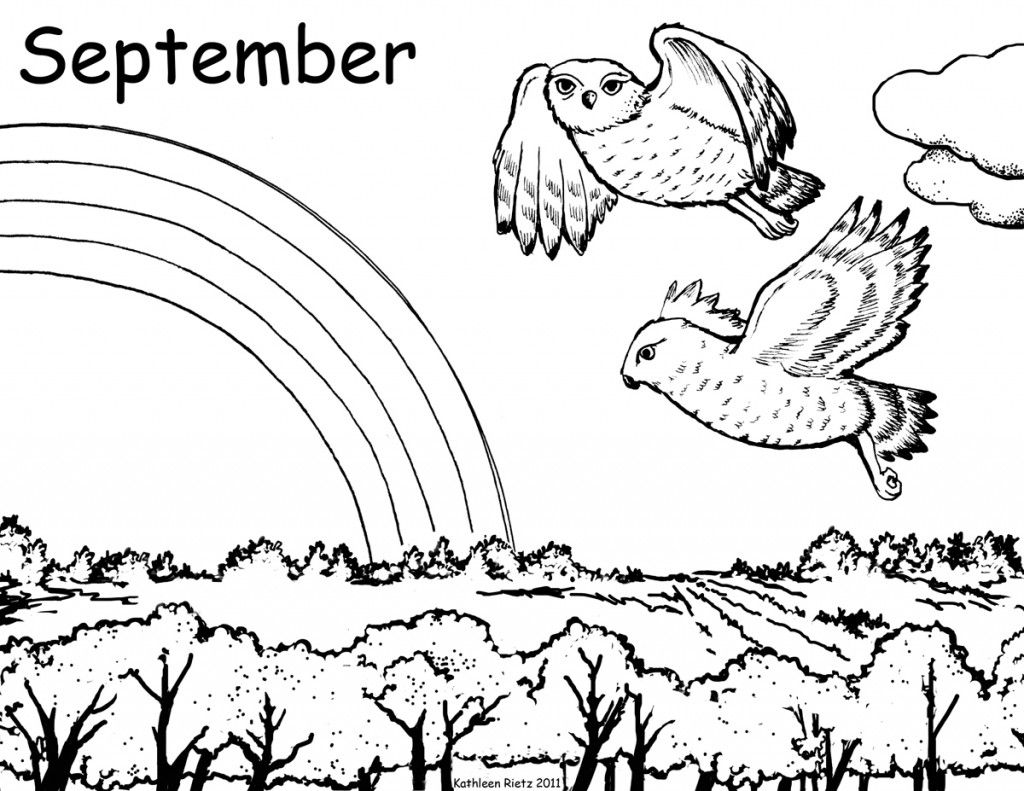 free september coloring page owls on the prairie are ready to fly south for the - Free September Coloring Pages