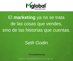 El marketing ya no se trata de las cosas que vendes, sino de las historias que cuentas. Seth Godin #FrasesMarketing #MarketingRazonable #MarketingQuotes