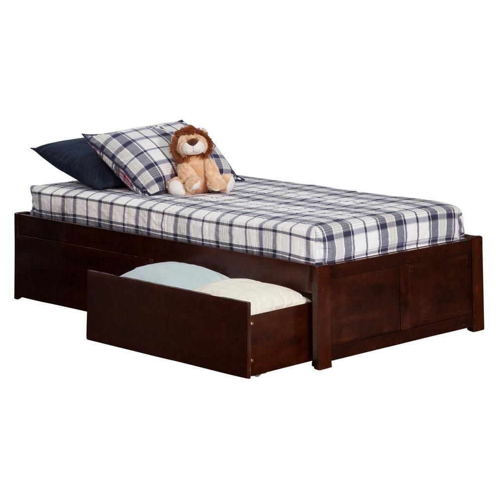 Atlantic Furniture Concord Walnut Twin Xl Platform Bed With Flat Panel Foot Board And 2 Urban Bed Drawers Brown Products Bed With Drawers Twin Platform B