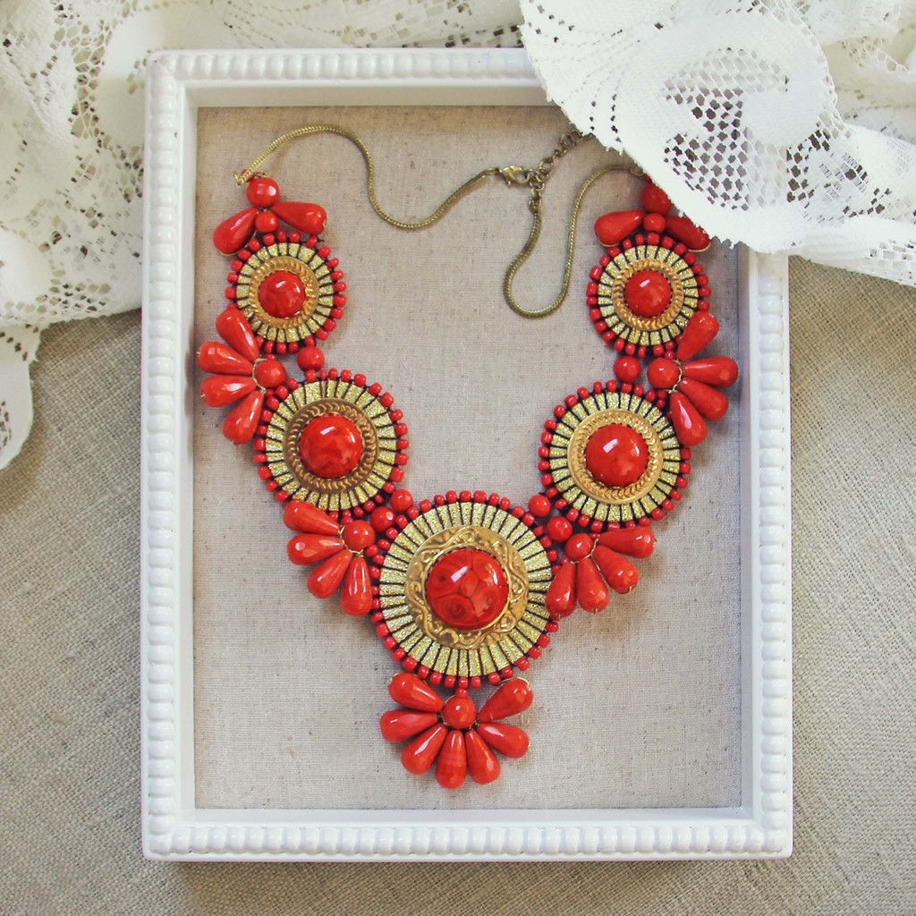 Bohemian Romance Necklace in Coral, Sweet Bohemian Necklaces from Spool No.72.   Spool No.72