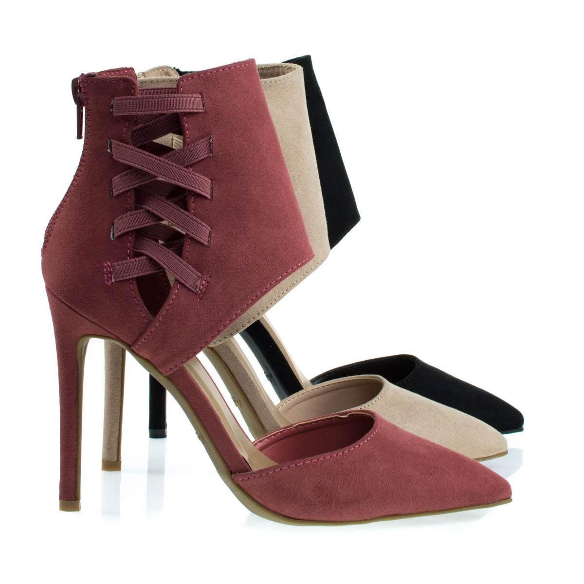 Worship37s Dk Mauve by Anne Michelle, Pointed Toe Dress Pump w Ankle Height Cuff w Elastic Strap D'Orsay Cut